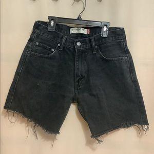 Levi's 505 black denim cut off shorts